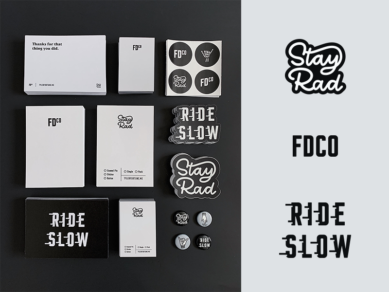 FDCO   Brand Goodies typography type packaging collateral neutral grayscale black and white stickers personal brand branding brand stationary