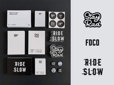 FDCO | Brand Goodies typography type packaging collateral neutral grayscale black and white stickers personal brand branding brand stationary