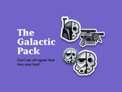 The Galactic Pack skeleton simple illustration skull blaster han solo boba fett stormtrooper sci fi star wars may the fourth may the 4th