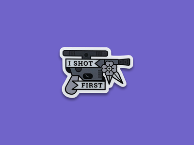 Han Shot First may the 4th simple flower typography type weapon blaster sticker american traditional han shot first star wars han solo