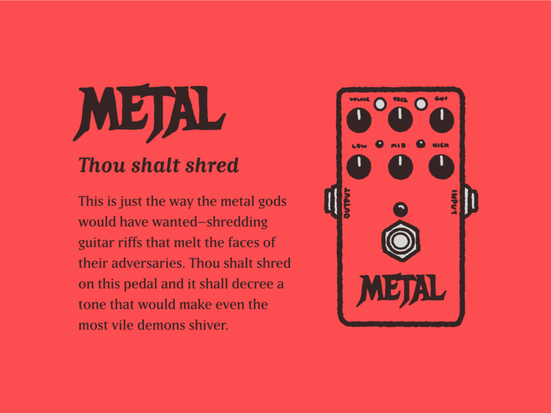 Type Effect   Metal sketch illustration scary horror distortion pedal layout typography type lettering heavy metal music metal