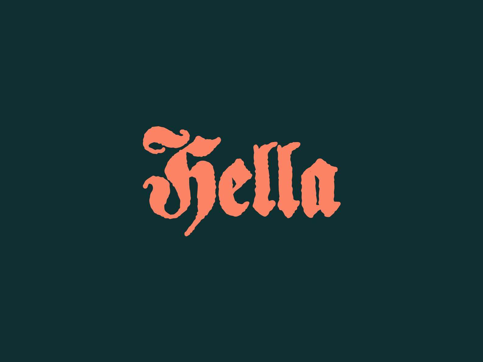 Lingo Type | Hella skateboarding skate surfing surf color vintage retro blackletter lettering typography type hella