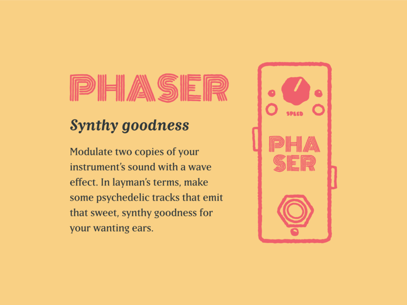 Type Effect   Phaser color layout illustration lettering typography type vintage retro musician music distortion pedal phaser