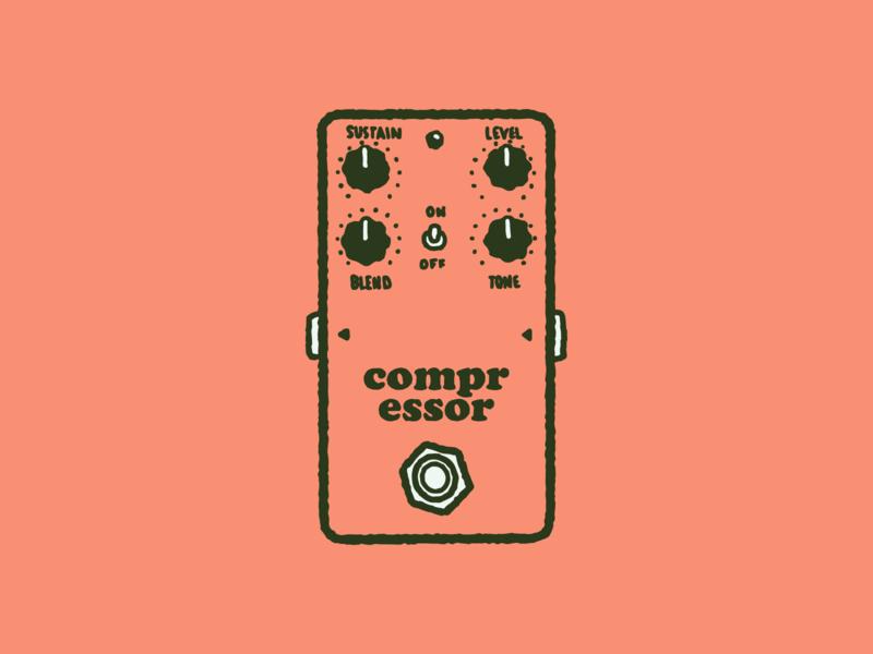 Type Effect   Compressor typography type drawing sketch illustration vintage cooper black retro musician music distortion pedal compressor
