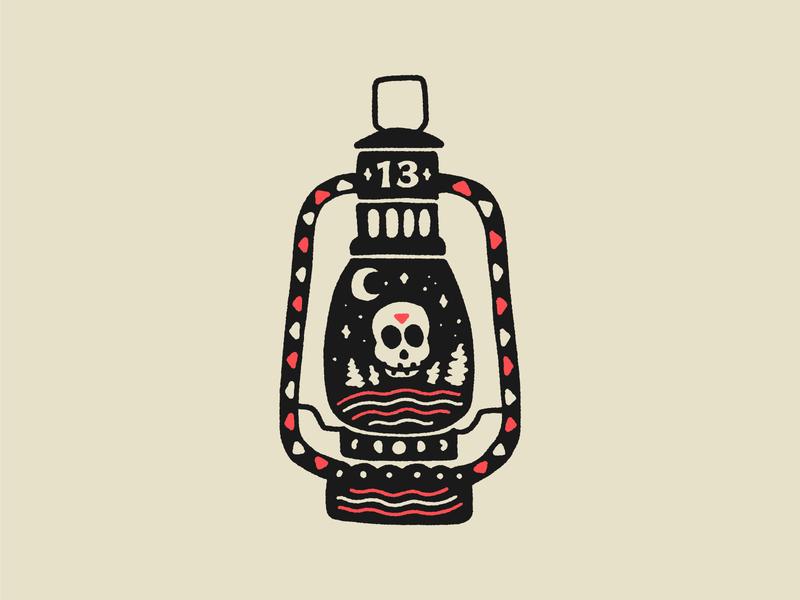 Tour of Terror | Camp Crystal Lake skull camping lantern drawing illustration sketch tour of terror inktober october horror friday the 13th camp crystal lake