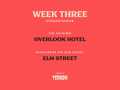 Tour of Terror | Week 3 elm street the shining typography type tour of terror scary prompt october horror font challenge art