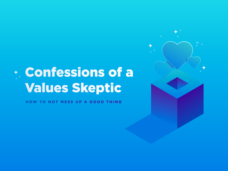 Article Header | Values dimension stars layout blue typography type gradient cube box hearts isometric geometric