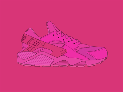 Hot Pink Nikes red pink fuschia flt illustration icon nike running shoe nike shoes sneaker air nike