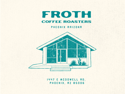 House of Coffee typography building house roasters arizona retro texture branding coffee illustration
