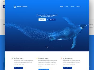 'Deepsea Finland' landing page penguins blue findland deepsea