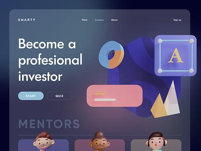SMARTY - Investment Advisor Promo Page Concept branding logo website illustration 3d finance fintech web landing ux ui design flumberg