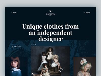 KAMETA TIMAEVA - Fashion Designer Personal Website grid kids clothes designer premium shop fashion ux ui website landing flumberg web design w