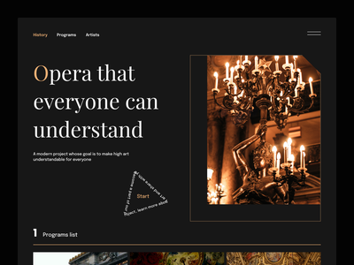 """History"" Modern Opera Website UI/UX simple modern website promo ux theatre landing flumberg web design ui"
