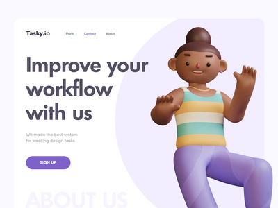 TASKY - Simple Tasktracking web app illustration 3d promo branding website landing design flumberg web ux ui