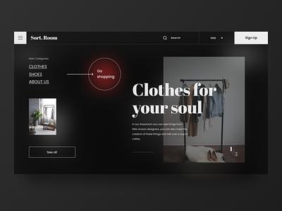 Sort.Room - Fashion Showroom Website UX/UI minimal wear cloth fashion logo website landing flumberg web ux design ui