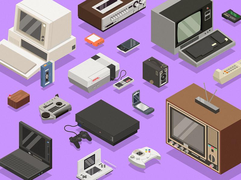 Old tech devices - 2 beeper razor old zune walkman tv camera dreamcast talkboy ds nes nintendo illustration 3d isometric technology tech