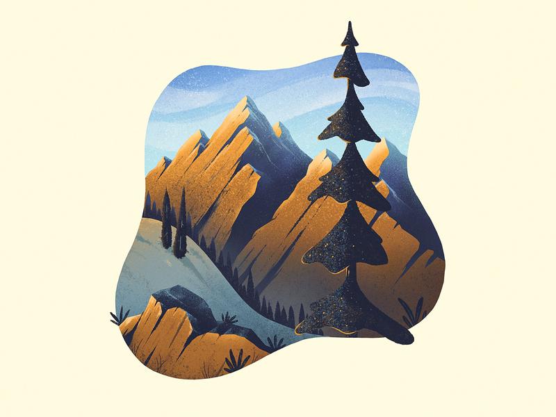Mountain Scene procreate texture hand drawn illustration landscape rocks pine trees mountains mountain