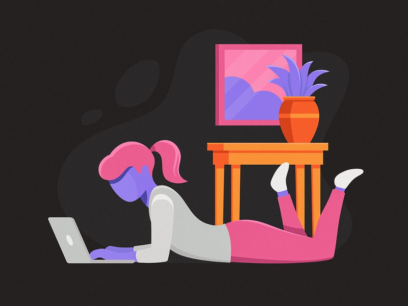 Work From Home 2 workspace working illustration person woman laptop computer plant home work remote work from home