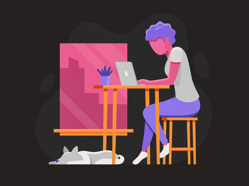 Work From Home 3 person woman workspace illustration laptop computer dog remote home work work from home