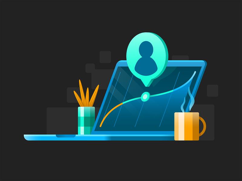 Measuring Up tech data chart graph plant mug coffee illustration avatar person user laptop computer