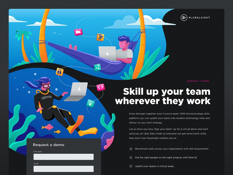 Skill up wherever you work plants woman man team remote learning technology dev development tech trees palm illustration diving tropical laptop computer hammock diver scuba