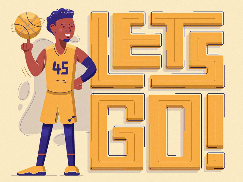 Let's Go sports man illustration athlete nba donovan mitchell basketball jazz utah