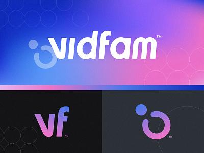 Vidfam Brand design identity type logotype branding gradient brand typography lettering logo