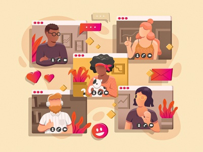 Thanksgiving 2020 web digital online friends family illustration people thanksgiving zoom