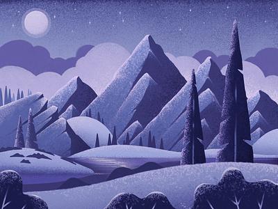 Moonlit Mountains clouds procreate ipad texture stars night wilderness mountains illustration trees moon landscape