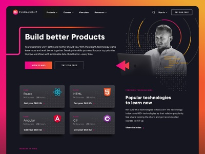 Homepage Explore technology tech angular html react programming code collage design web design user interface user experience ui ux homepage landing page