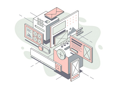 UI Components grid mail icon search toggle vector isometric design pastel collage userinterface ui illustration isometric