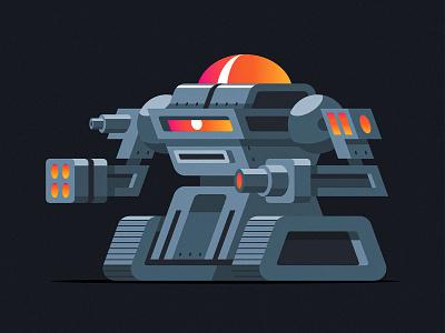 PS Bot robots cyborg cyclops illustrator vector robotics cannon tank illustration robot