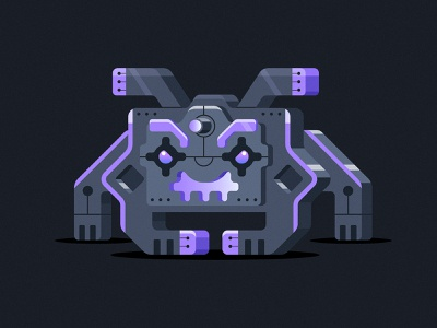 Space Invader Bot cannon boss illustration video game game vintage space invaders space alien bot robot
