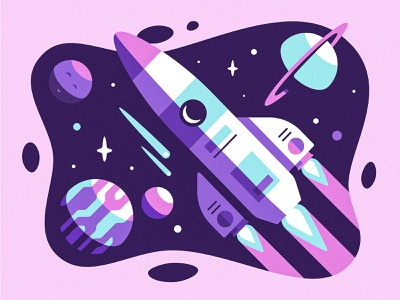 Space Exploration explore illustration blast off rocket ship stars asteroid comet saturn planet rocket space