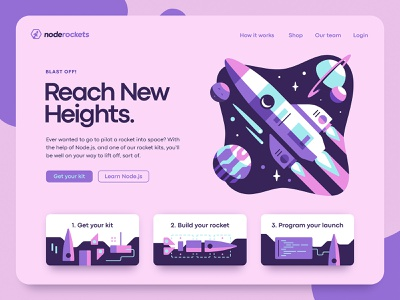 Node Rockets planet node rocket space web design steps hero landing page illustration ux ui