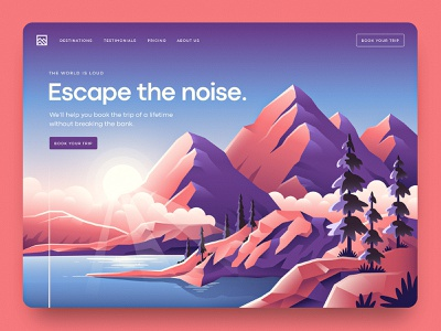 Vacation Landing Page lake gradient trip destination vacation outside wilderness vector website trees water landscape mountains illustration landing page ui ux