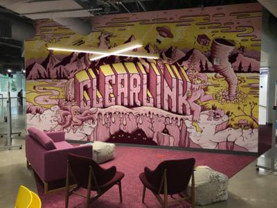Clearlink Wall Vinyl bigfoot octopus tornado godzilla yellow pink clearlink mural wall illustration
