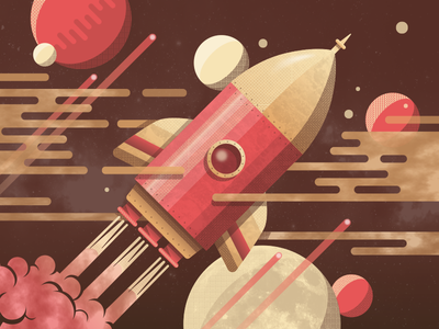 Rocket planets space red texture illustration rocket