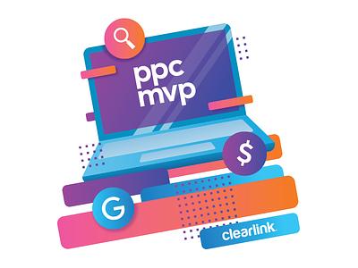 PPC Trophy award acrylic gradient illustration computer laptop trophy