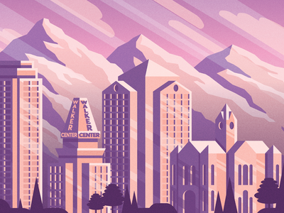 Salt Lake City - 1 mountains utah illustration mural slc salt lake city