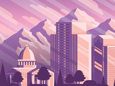 Salt Lake City - 3 mountains utah illustration mural slc salt lake city