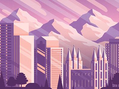 Salt Lake City - 4 mountains utah illustration mural slc salt lake city