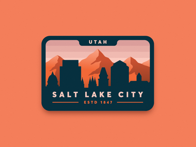 SLC Badge salt lake city outdoors patch illustration mountains utah slc badge