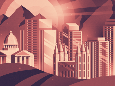 SLC Illustration landscape buildings cityscape city utah gradient illustration slc salt lake city