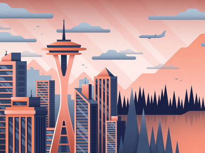Seattle space needle mural nature trees buildings skyscraper city northwest seattle illustration