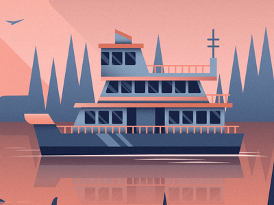 Ferry Boat mural seattle pacific northwest wilderness nature flat reflection water ferry boat illustration