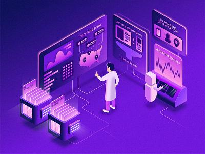 Isometric Bid Automation gradient data purple technology tech illustration isometric