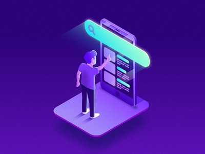 Search scroll touch technology tech gradient user illustration isometric ui ux mobile screen search bar search phone iphone