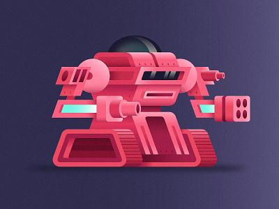 Battle Bot cannon 3d flat robotic bot fight tank battle guns illustration robot