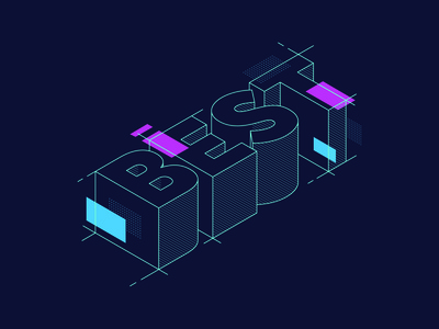 BEST 3d monoweight line outline build wireframe illustration isometric typography best